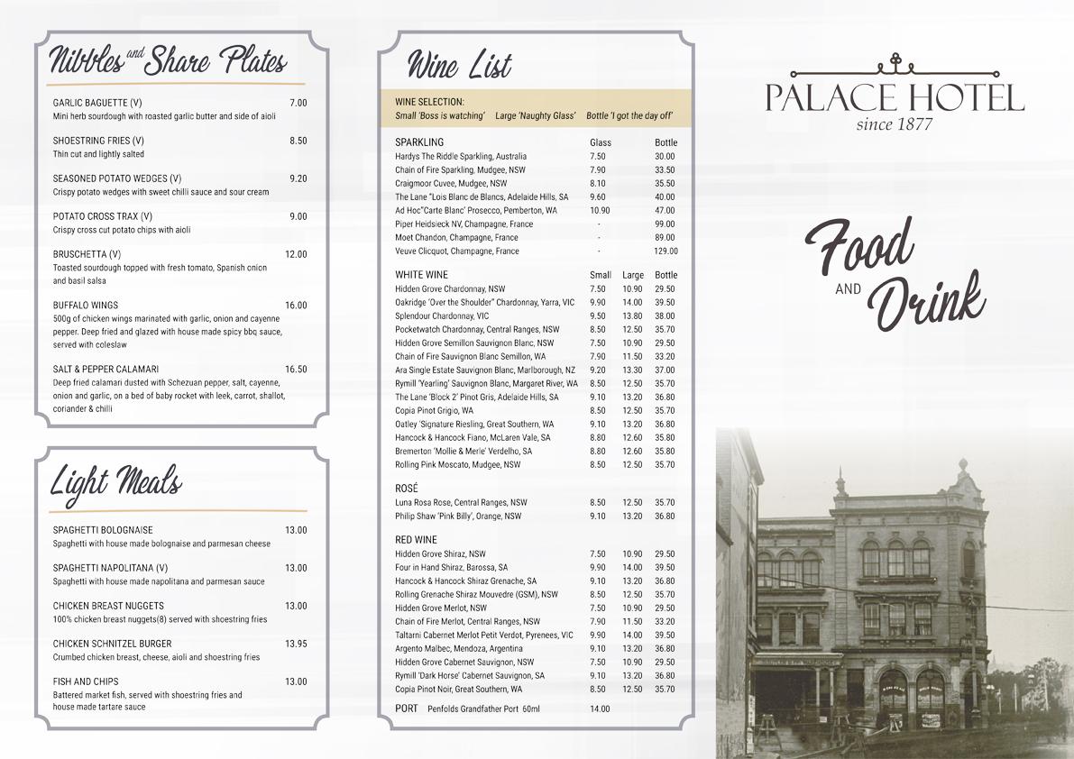 Palace Hotel Sydney Capitol Theatre menu